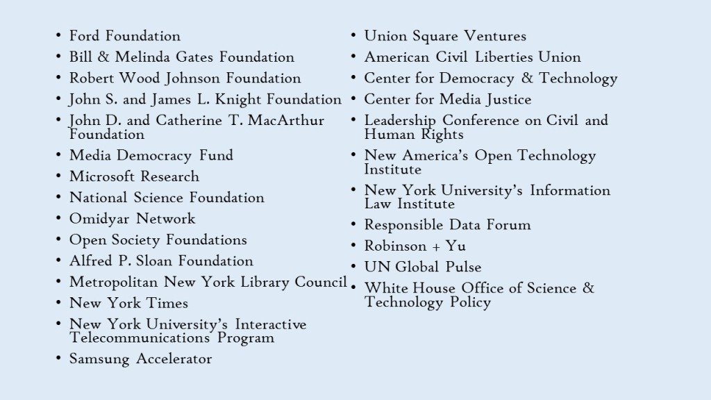 Data and Society Funders and Partners